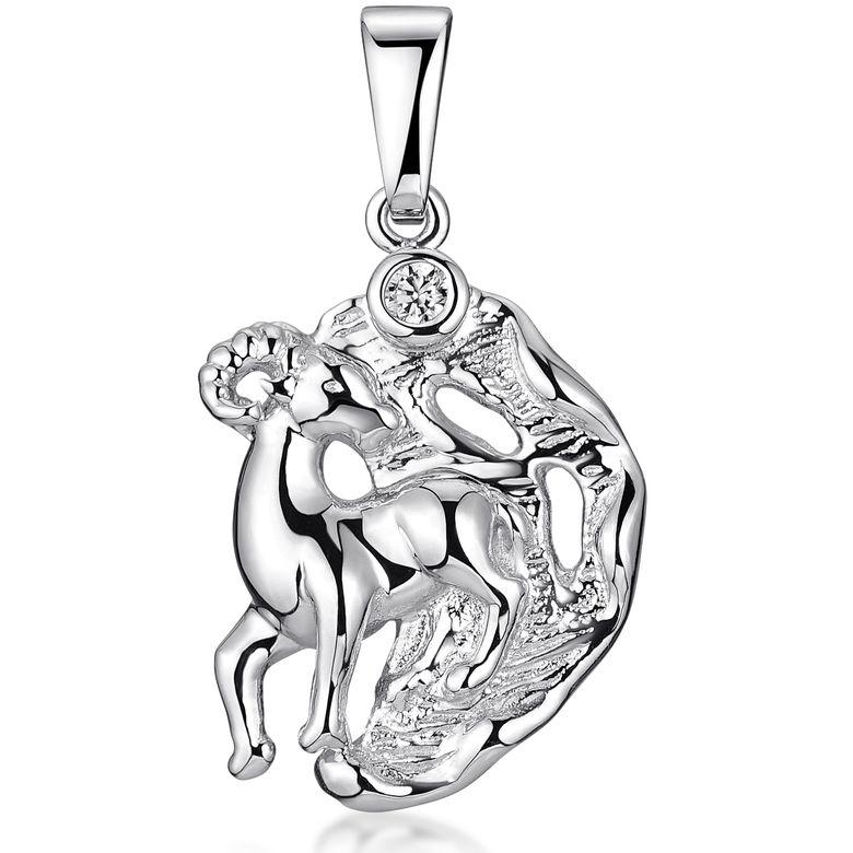 MATERIA Widder Sternzeichen Anhänger Zirkonia für Kette Damen aus 925 Sterling Silber rhodiniert KA-472