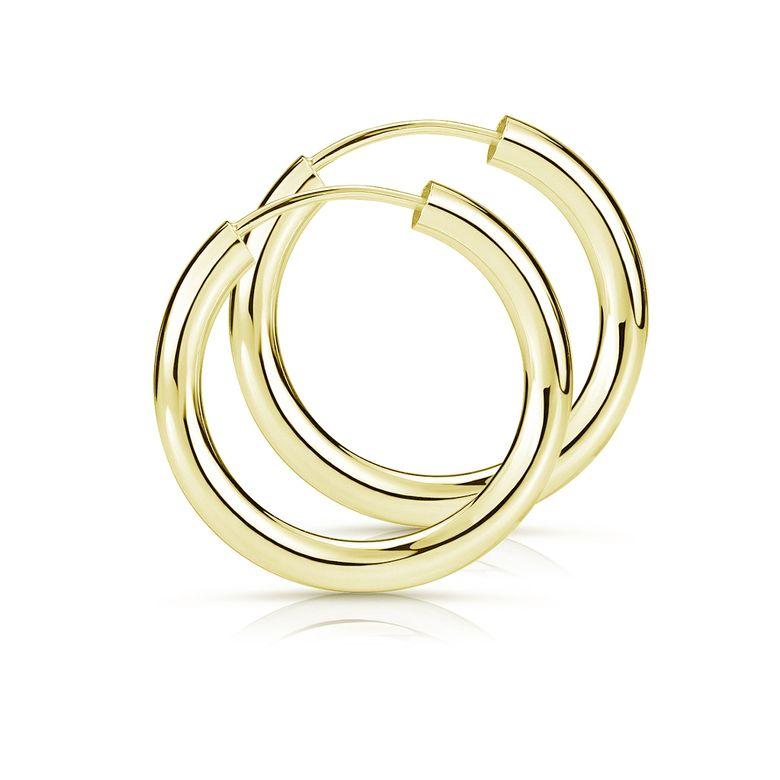 MATERIA Gold Creolen klein 15mm aus vergoldetem 925 Sterling Silber - Ø 2,5mm Herren Damen Schmuck SO-461
