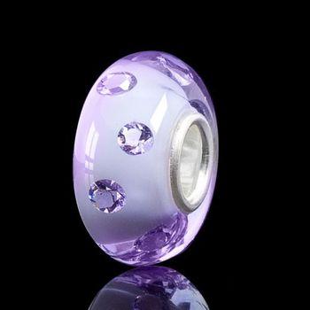 MATERIA Muranoglas Beads Anhänger Damen lila Zirkonia Charm 925 Silber für Armband oder Kette #1064