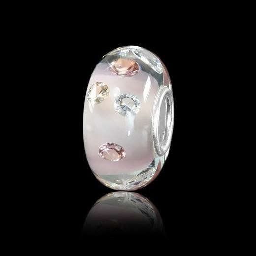 Murano Glas Bead rosa mit 8 Zirkonia - Hülse aus 925 Sterling Silber - für Beads Armbänder #946