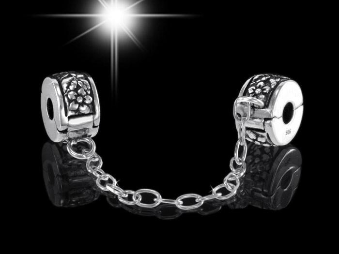 925 Sterling Silber Bead Element Clip Sicherheitskettchen Blütenmotiv - Beads Modell: #941