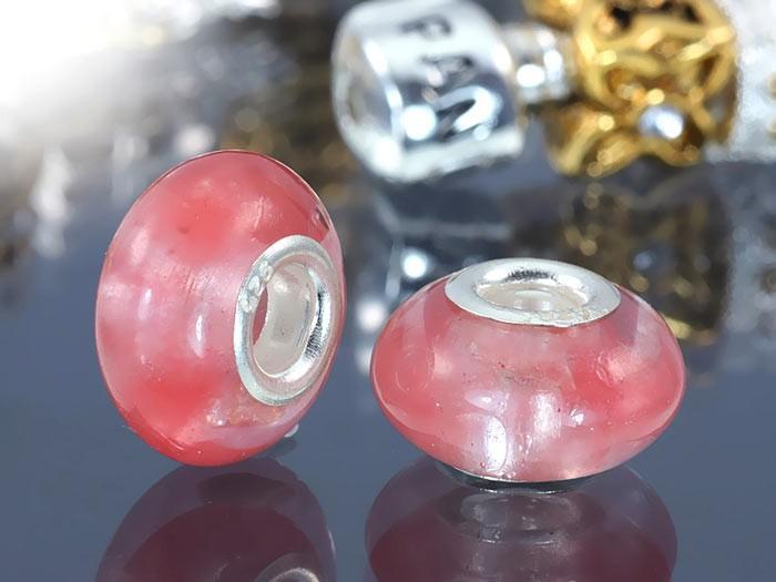 MATERIA 925 Silber Beads Anhänger Naturstein Rosenquarz für Beads Armband / Ketten #256