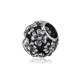 MATERIA Schmuck 925 Sterling Silber Beads Kugel mit Blüten antik - European Bead Blumen Element für Armband #743