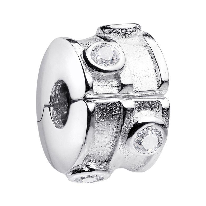 MATERIA Charms Anhänger 925 Silber Stopper - Clip Stopper Zirkonia weiß für 3mm Armband und Kette #1231