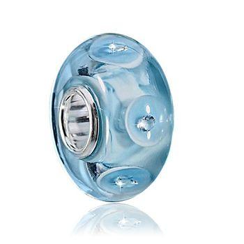 Murano Glas Anhänger blau - 925 Silber Bead mit 5 Zirkonia
