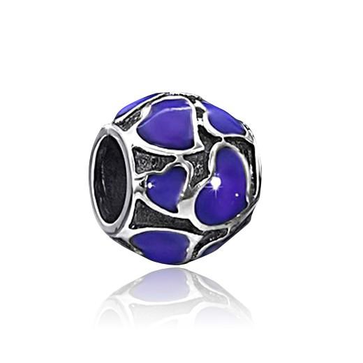 MATERIA 925 Silber Beads Kugel Herz Emaille violett für Beads Armband /Kette #1340