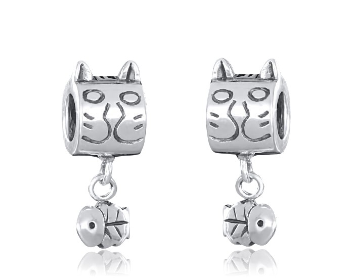 925 Sterling Silber Dangle Bead Element Katze mit Fisch - Beads Modell #1412