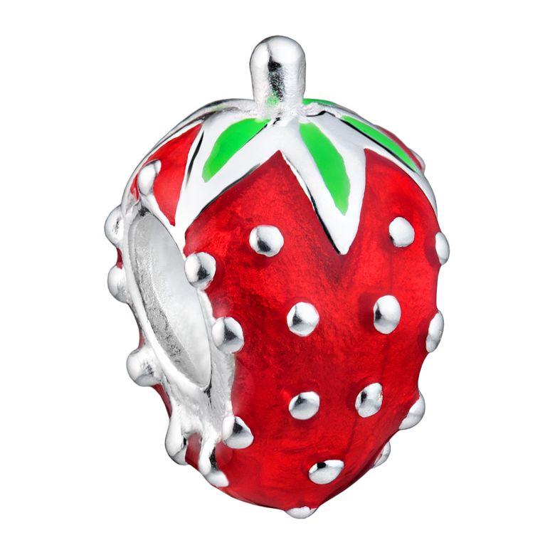 MATERIA 925 Silber Beads Erdbeere Emaille rot grün - Charms Schmuck Anhänger für Damen Kinder 1361