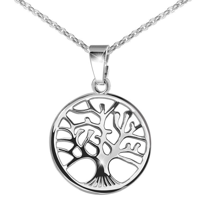 MATERIA 925 Sterling Silber Kettenanhänger Baum rhodiniert - Schmuck Anhänger Lebensbaum 22x31mm für Halskette / Kette #KA-5