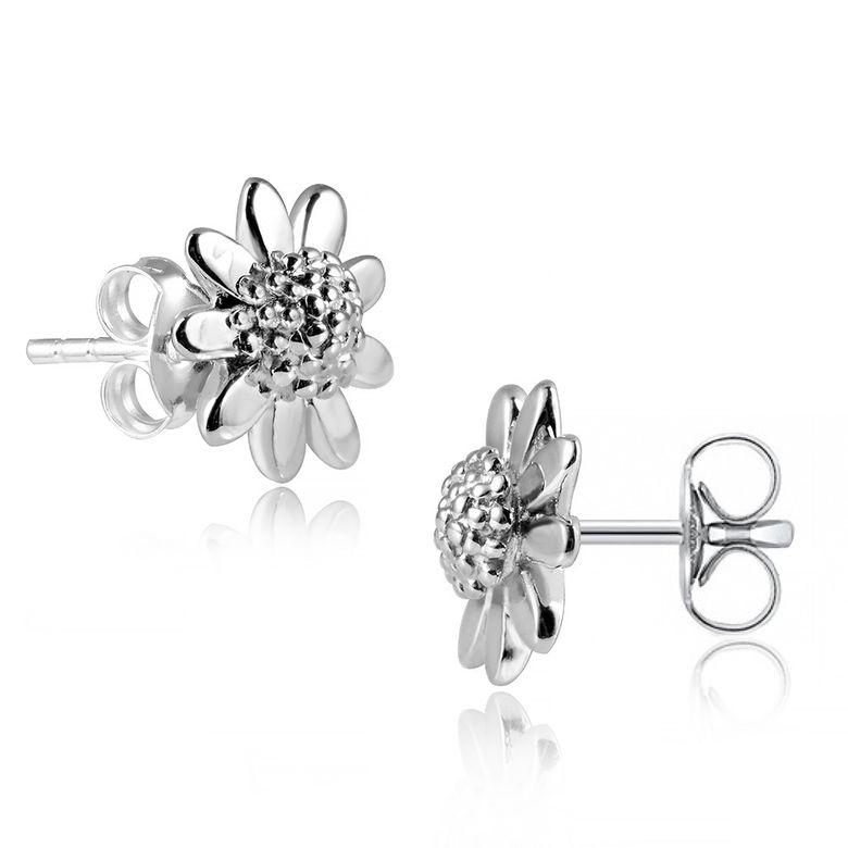 MATERIA 925 Silber Ohrstecker Blume - Damen Ohrringe Silber Gänseblümchen rhodiniert + Box #SO-7