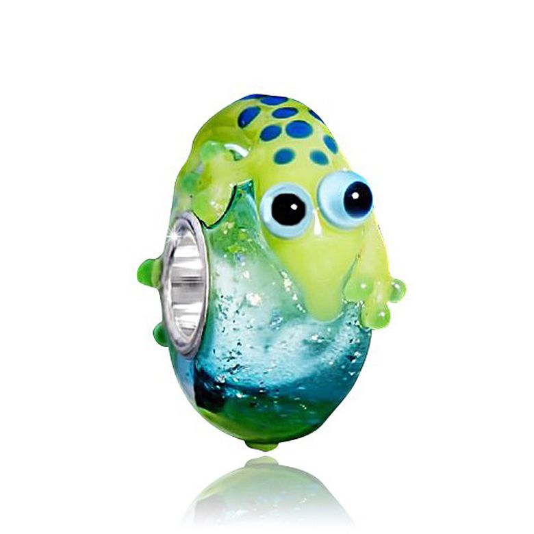 MATERIA Muranoglas Bead 925 Silber Salamander 3D Tier Anhänger blau grün für Beads Armband #1437