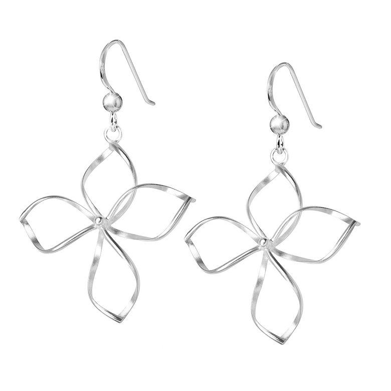 MATERIA Damen Ohrhänger Blume Blüte 925 Sterling Silber - Schmuck Ohrringe hängend rhodiniert diamantiert SO-43
