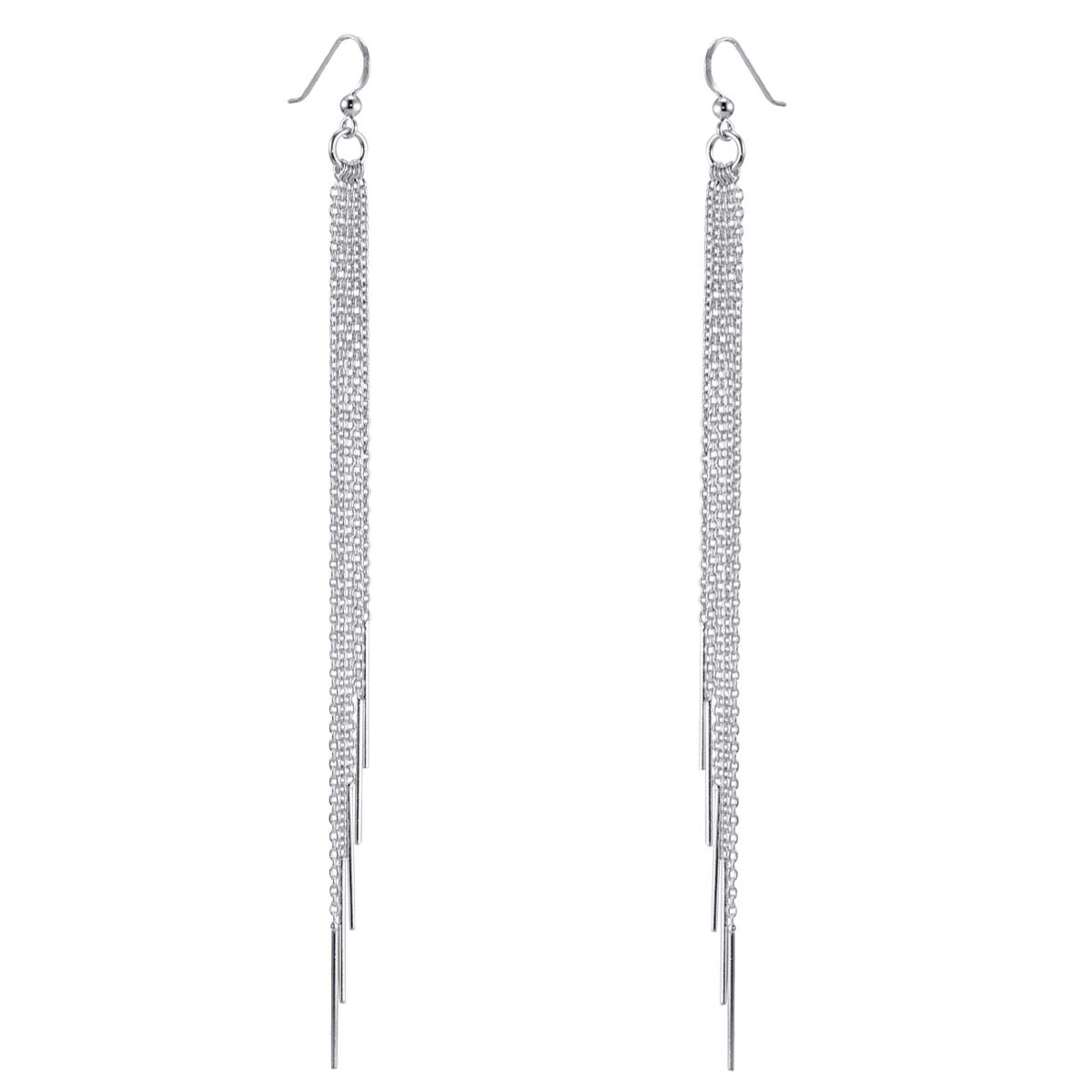 MATERIA Damen Ohrringe lang hängend 925 Silber Stäbchen 6x140mm