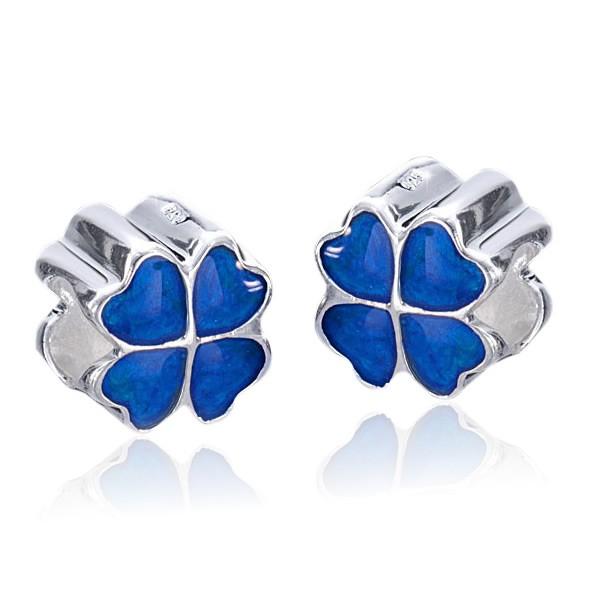 MATERIA 925 Silber Beads Kleeblatt blau als Glücksbringer - European Beads Emaille Element #428