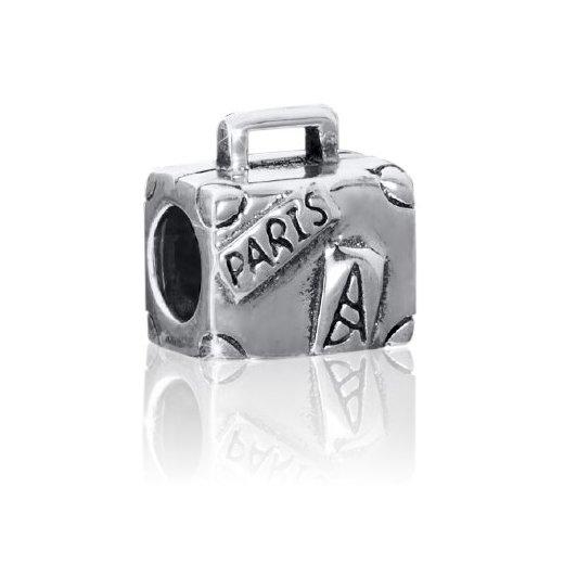 Materia 925 Silber Beads Koffer Element - Silber Bead antik Paris / Eiffelturm / Frankreich für Beads Armbänder bis 4,4mm #1462
