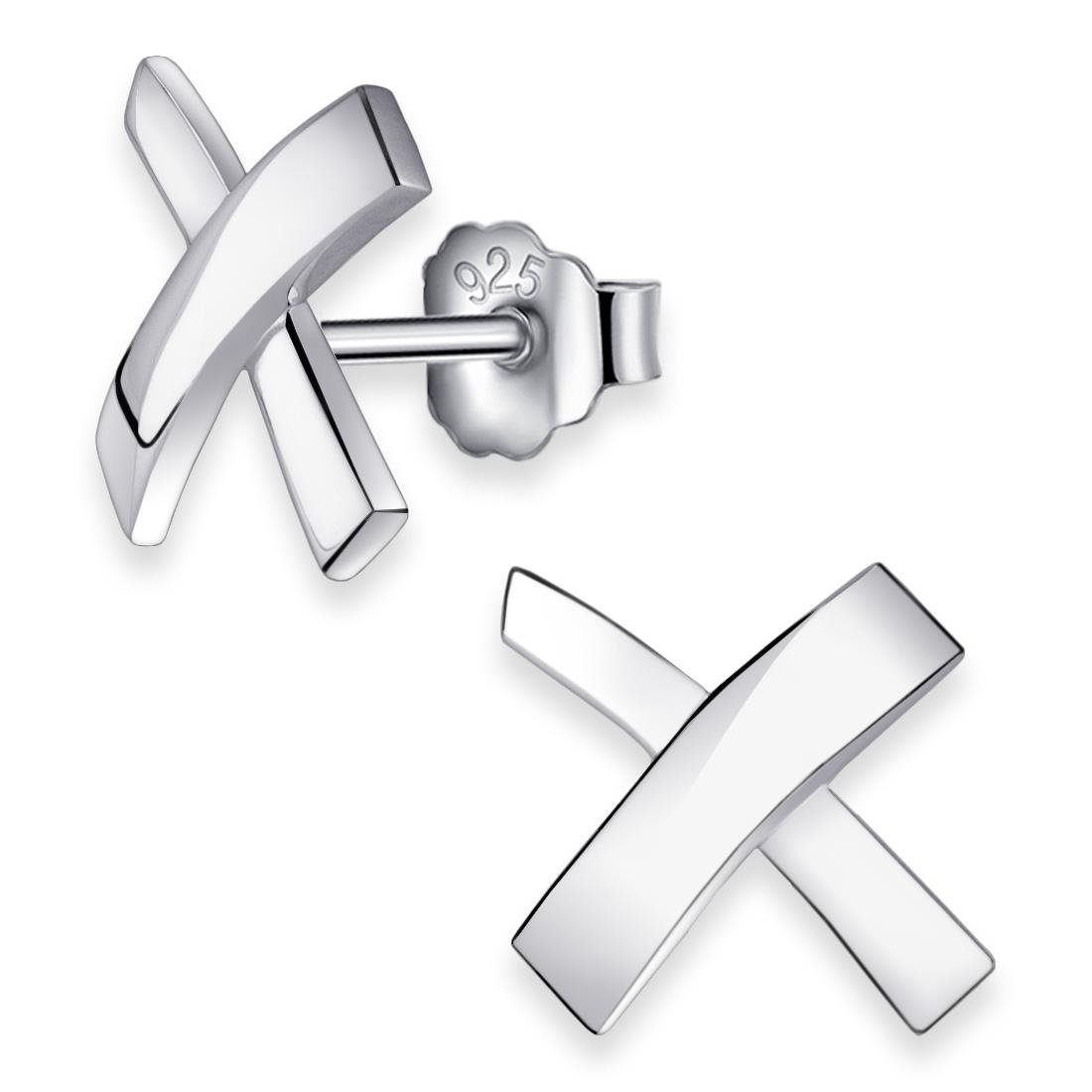 MATERIA Damen Ohrstecker Kreuz 12mm 925 Silber Ohrringe Stecker
