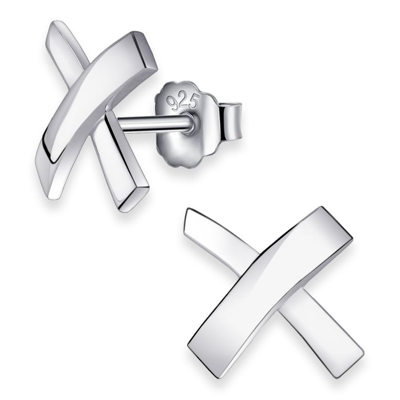 MATERIA Damen Ohrstecker Kreuz 925 Silber Ohrringe Stecker groß rhodiniert mit Geschenk-Box #SO-65
