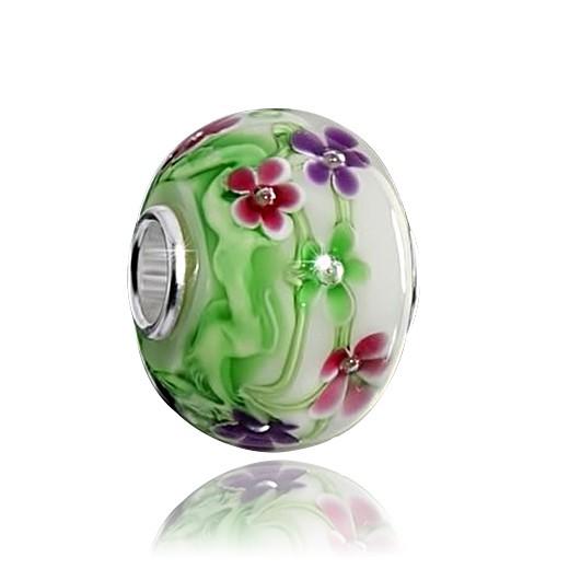 MATERIA Original 925 Silber Murano Beads Blumen & Sommer Element grün / weiß aus edlem Muranoglas #1465