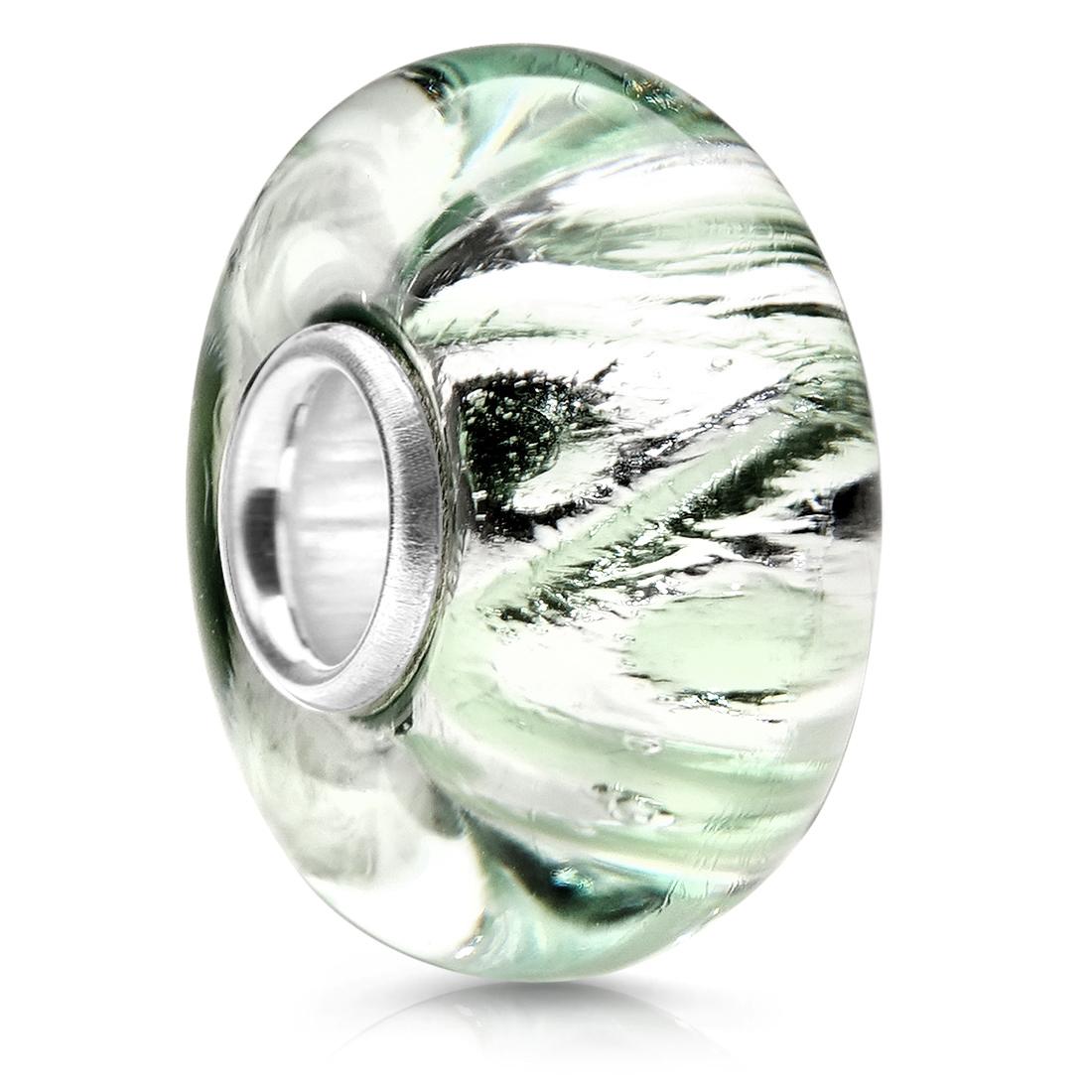 Glas Perle türkis pink MATERIA 925 Silber Beads Muranoglas Anhänger Glitzer