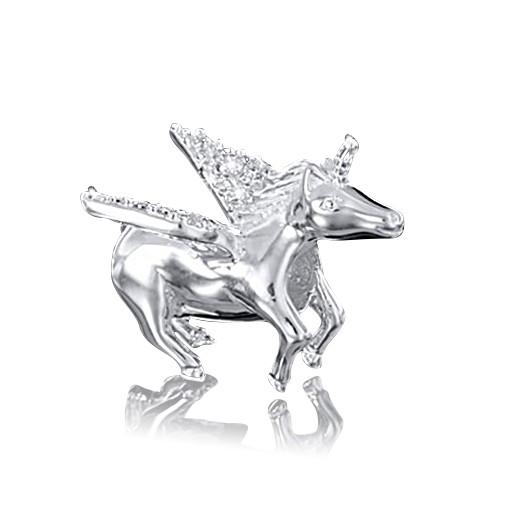 MATERIA 925 Silber Beads Pegasus mit 18 Zirkonia 13x18mm - European Beads Pferd mit Flügel Anhänger mit Box #1502