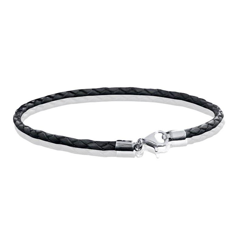 MATERIA 925 Silber Beads Armband Herren Damen - Leder Armband Karabiner grau 18-22cm #A59