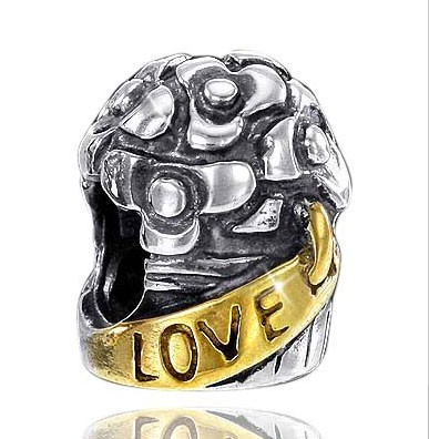 925 Sterling Silber Bead Element Gold Love / Liebe - Beads Modell: #770