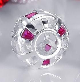 925 Sterling Silber Bead Element 8 Zirkonia Gitter magenta rot - Beads Modell: #158