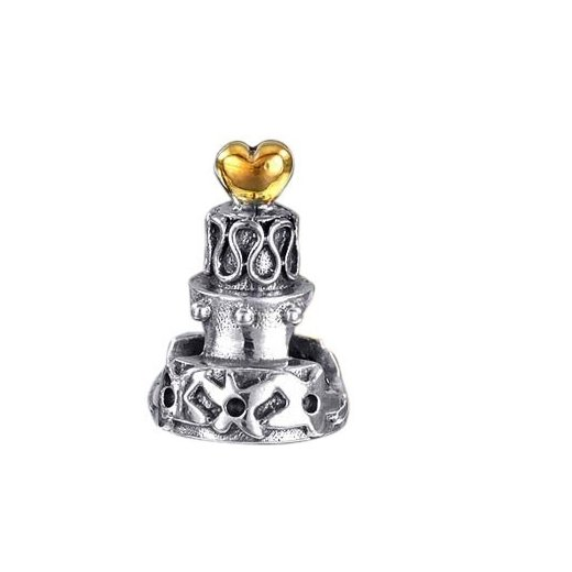 Materia 925 Silber Beads Torte Kuchen mit Gold Herz 14K vergoldet