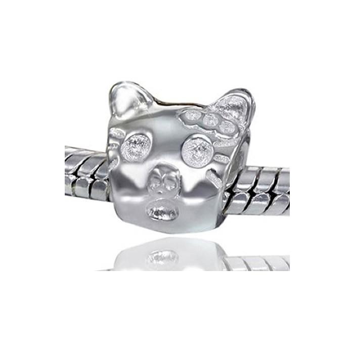 Materia 925 Silber Beads Katze - Beads Silber Tiere Element 9x9mm