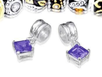 925 Sterling Silber Dangle Bead Element Zirkonia - Beads Modell: #444