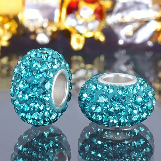 MATERIA 925 Silber Beads Strass türkis Charms Element - Kristall Beads Kugel türkis blau #313