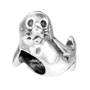 MATERIA Schmuck 925 Silber Bead Seehund Anhänger - Antik Silber Beads Charms Robbe Element für European Armbänder #278