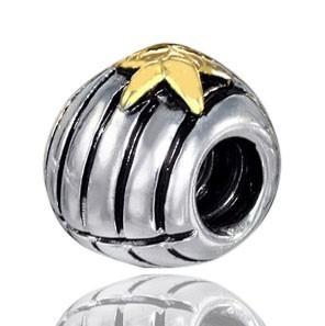 Materia Schmuck Beads 925 Silber Muschel Stern Element 14K vergoldet