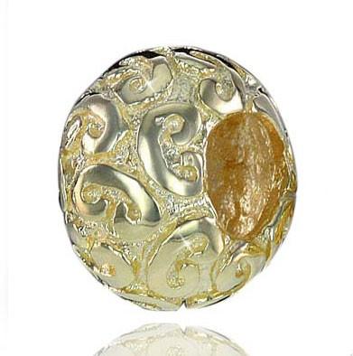 Materia Sterling Silber Bead Gold Schnörkel für Armband