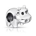 MATERIA 925 Silber Charms Nilpferd Flusspferd antik Tiere  001