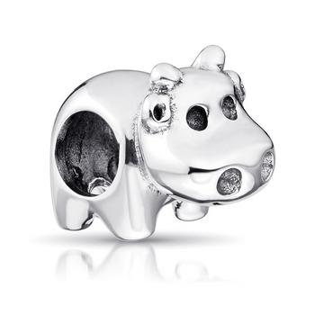 MATERIA 925 Silber Charms Nilpferd Flusspferd antik - Tiere  Beads unisex für European Beads Armband #601