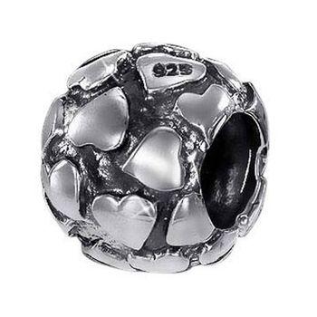 MATERIA 925 Silber Beads Kugel Element 8x11mm - European Silber Beads Herzen / Liebe antik für Beads Armbänder bis 4,5mm #778
