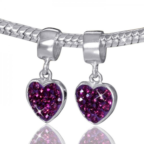 925 Sterling Silber Dangle Kristall Bead Element magenta rot Anhänger für Armband - Beads Modell: #670