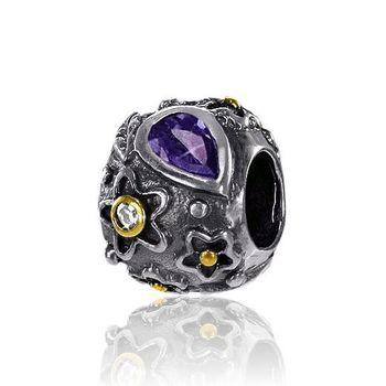 925 Sterling Silber Gold Bead Element Zirkonia Violett - Beads Modell 846