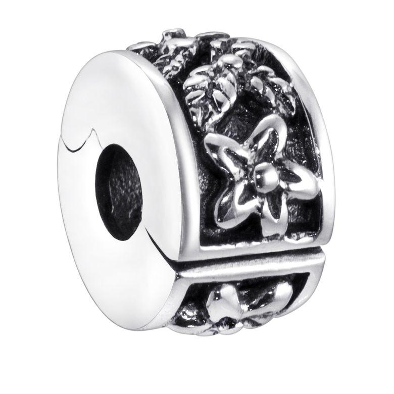 Damen Mädchen Stopper Beads Clip Blumen 925 Silber antik für Armbänder mit Gewinde mit Geschenk-Box #389