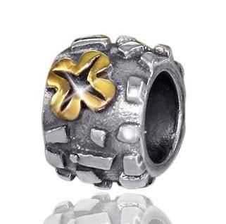 925 Sterling Silber Bead Element Gold Kleeblatt / Glücksbringer - Beads Modell: #628