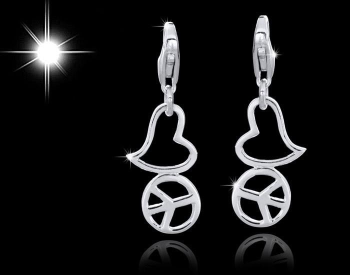Charms Anhänger Love Peace aus 925 Sterling Silber für Bettelarmband / Kette #C37