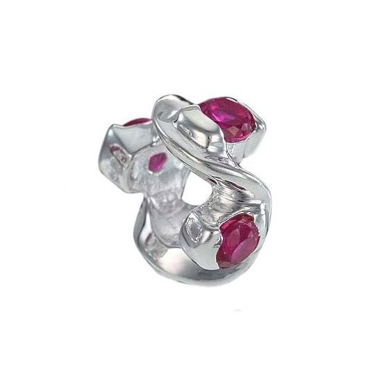 MATERIA 925 Sterling Silber Beads Anhänger Zirkonia magenta rot für European Beads Armband #751