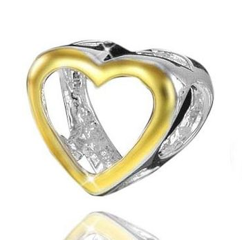 925 Sterling Silber Bead Gold Herz - Beads Modell: #781