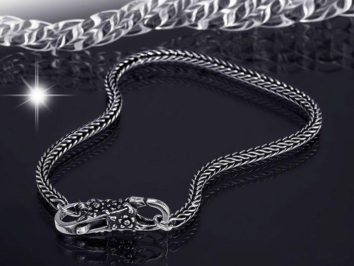 Beads Armband 925 Sterling Silber antique - Karabiner Verschluss Blüten für European Beads / Marken Beads ab 3mm  Lochdurchmesser #BASW-B