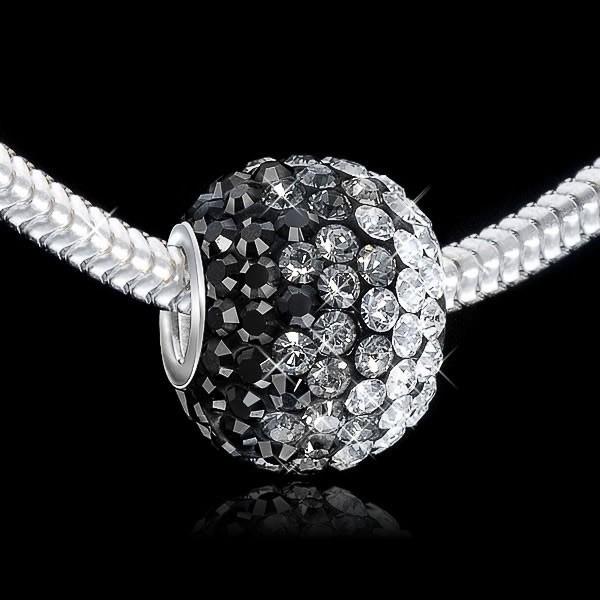 Materia Kristall Bead schwarz weiß - XXL Strass Kettenanhänger
