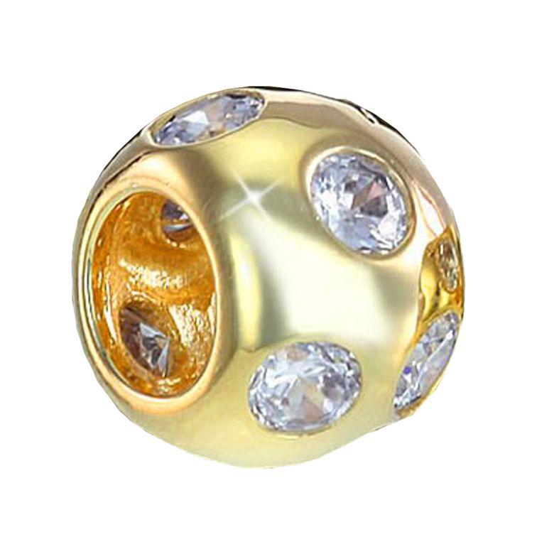 MATERIA Schmuck Gold Beads Perle / Kugel mit 10 weißen Zirkonia - 925 Silber Bead 14k Gold vergoldet #688