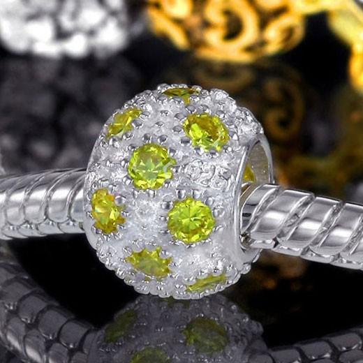 Materia 925 Silber Bead Zirkonia  gelb für Beads Armband