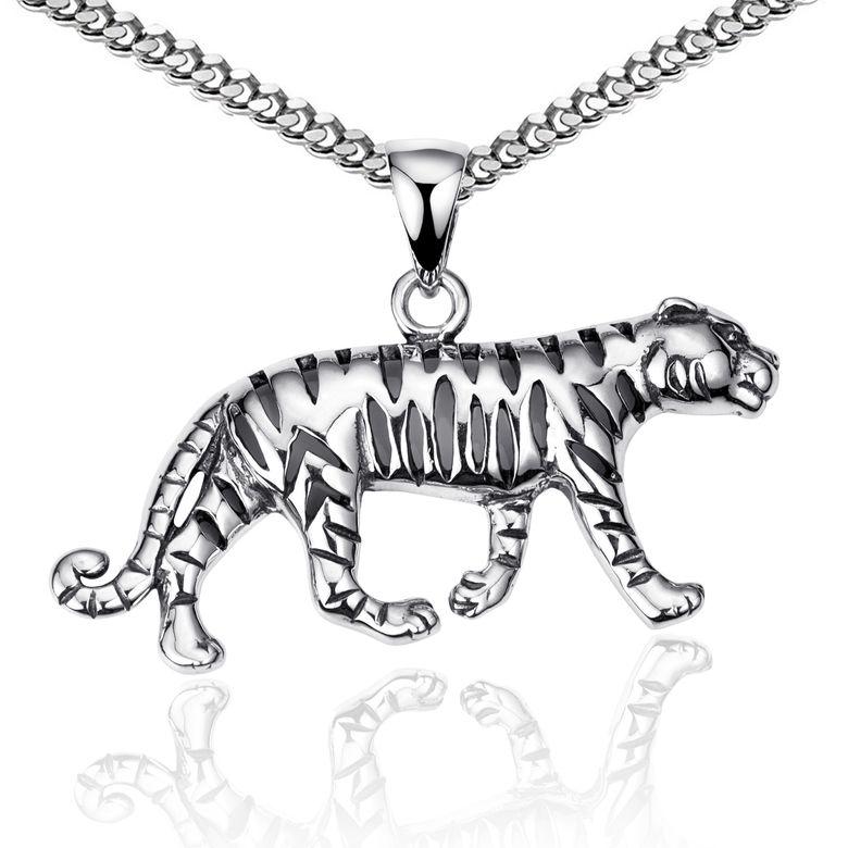 MATERIA Herren Kettenanhänger Tiger aus 925 Sterling Silber geschwärzt mit Halskette 45 - 70cm in Schmuck Box