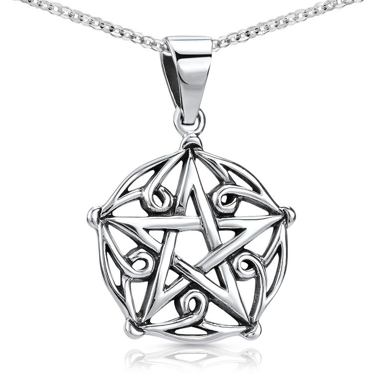 MATERIA Stern Anhänger Pentagramm Kette aus 925 Sterling Silber - Gothic Halskette Herren Damen rhodiniert KA-54